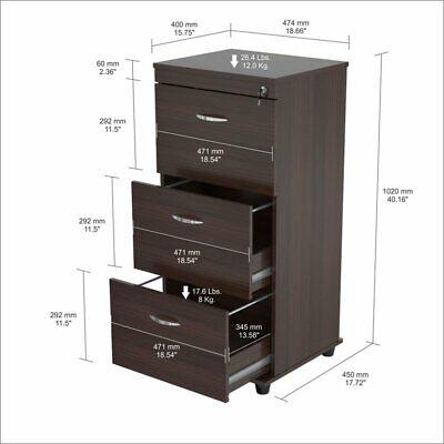 Inval Uffici Three Drawer Espresso File Cabinet