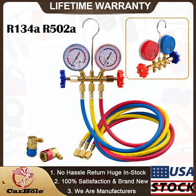 R134a R502a Hvac Ac Refrigeration Charging Service Manifold Gauge Set 14 Hose