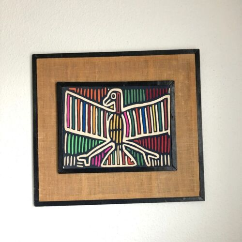 Vtg Panamenian Kuna Mola Hand Stitched Quilted Wall Frame