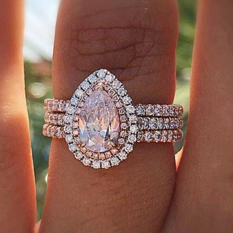 925 Silver Pink Sapphire Ring/Set Fashion Women Wedding Enga
