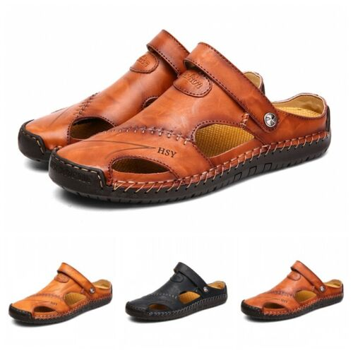 Men/'s Sport Close Toe Sandals Summer Leather Shoes Beach Fisherman Flat Slippers