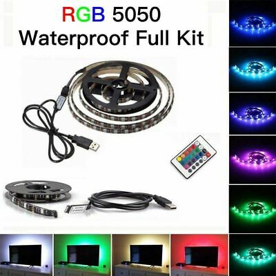 5V 5050 RGB LED Strip Light Bar TV Back Lighting Kit + 24Key USB Remote Control