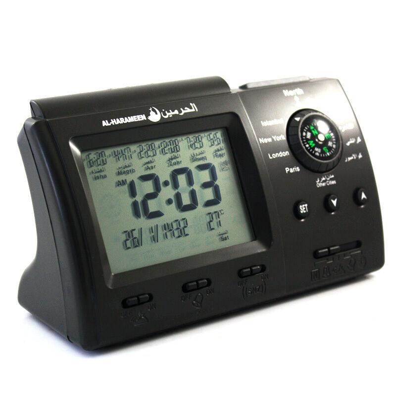 Digital Automatic Islamic AZAN Alarm Table Clock Muslim Adhan Qibla Salah Prayer