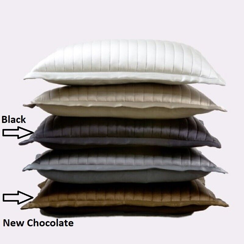 Ann Gish 100% Silk Channel Charmeuse 20×14 Decorative Pillow Sham Black Bedding