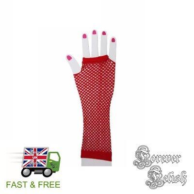 Sexy Halloween Red Fishnet Gloves Retro Raver Fancy Dress Costume Fetish UK](Raver Costume Halloween)