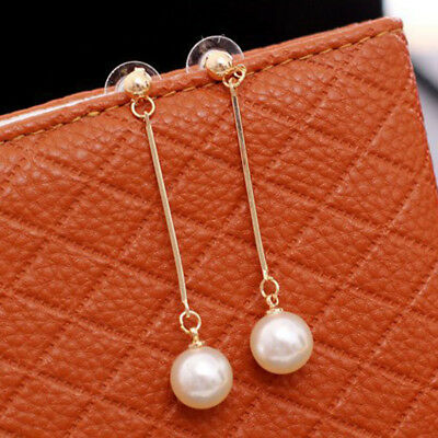 - Pearl Long Wire Hanging Earring Drop Stud For Women Elegant Charm Wedding Prom