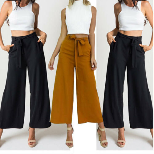 $9.99 - Fashion Womens Palazzo Pants High Waist Wide Leg Culottes Long Trousers Casual H