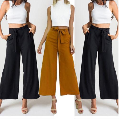 $9.99 - Fashion Womens Palazzo Pants High Waist Wide Leg Culottes Long Trousers Casual H