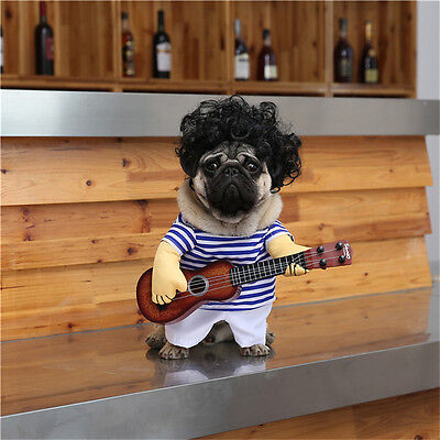 Funny Small Dog Halloween Costumes (Small Large Pet Dog Halloween Costumes Guitar Player Coat Clothes Funny)