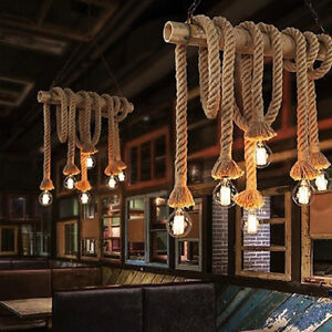 Retro Rustic Hemp Rope Ceiling Chandelier Pendant Lamp Hanging Light Decor Room