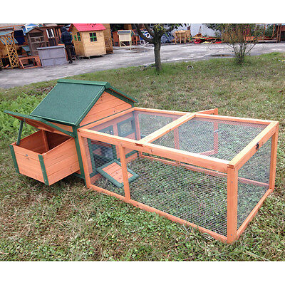 """DELUXE 72"""" Rabbit Hutch Bunny Chicken Coop Guinea Pig Ferret Cage NEST BOX for sale  USA"""