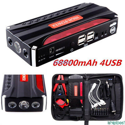 mAh USB Car Jump Starter Emergency Charger Booster Power Bank Battery SOS