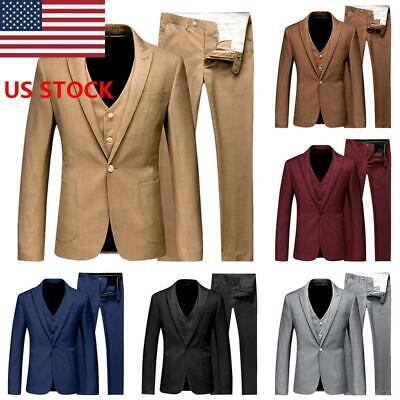 JAP Men's 3Piece Suit A Button Blazer Tux Slim Fit Business Formal Party Suit US