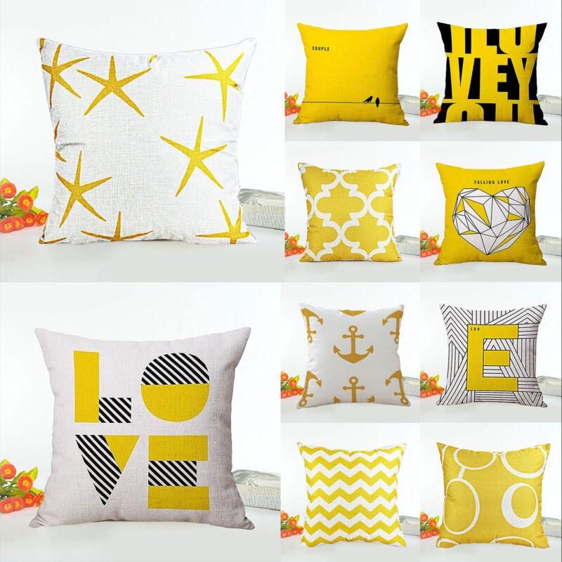 Mustard Yellow Polyester Sofa Cushion Cover Pillow Case Geometric Home Decor UK