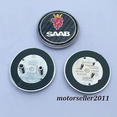 "2.67"" 68mm CARBON FIBER PATTEN Front Hood & Rear Trunk Emblem Badge"