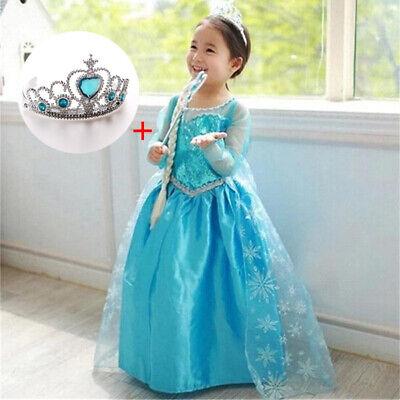 Princess Elsa Halloween Costume (Princess Elsa Gown Girl Dress Cosplay Outfit Halloween Costume Clothes Kids)
