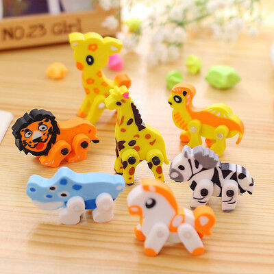 Removable Cute Animal Eraser Rubber Pencil Stationery Child Gift Toy Random DIY