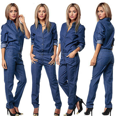 Womens Bodycon Jumpsuit Long Sleeve Button Denim Rompers Elegant Long Playsuit