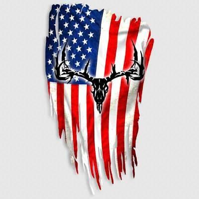 Deer Skull Decal American Flag Hunting Window Truck Gun Safe Taxidermy Sticker