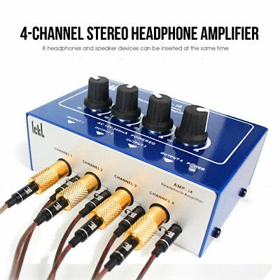 Audio 4 Channel Headphone Amplifier - Professional Mini 4 Channel Earphone Headphone Audio Stereo Amp Amplifier Mixer