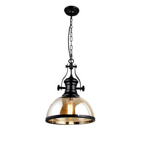 Amber Glass & Iron Steel Shade Nostalgic Industrial Light