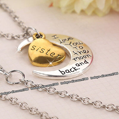 DEAL Sister Love Heart Necklace Silver Xmas Gifts For Her Girl Best Friend