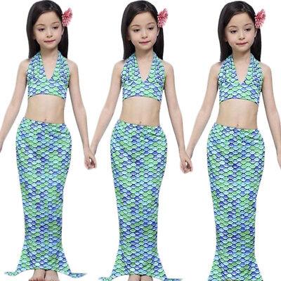 Kids Ariel Swimwear Swimming Mermaid Set Girls Fancy Dress Up Party Costume (Kids Dress Up Clothes Set)