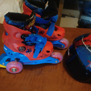 Spider man roller blades and helmet