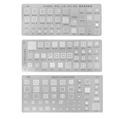 3pcs Universal Bga Reballing Stencils Kit For Mtk Samsung Htc Huawei Android New