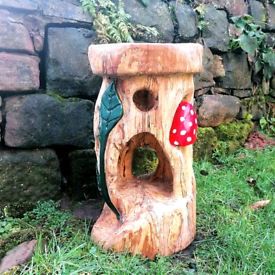 Wooden Carved Toadstool Garden Sculpture/ Bird Feeder. With Delivery.