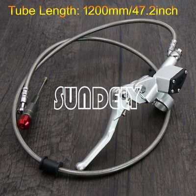 7/8'' Silver Motorcycle Hydraulic Brake Clutch Lever Master Cylinder cable 1.2m