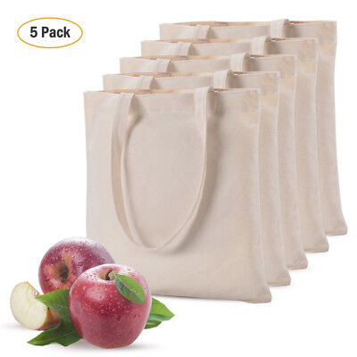 5 Pack 100% Cotton Canvas Reusable Shopping Grocery Bag Tote Reusable&Washable