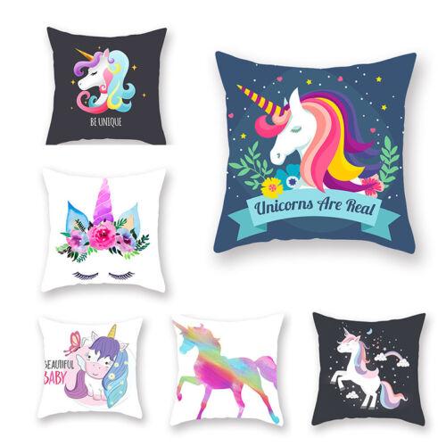 "17*17"" Cushion Cover Unicorn Pattern Sofa Pillowcase Car Sea"