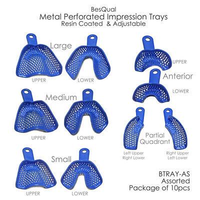 12pcs Dental Metal Perforated Impression Trays Resin Coatedadjustable 10 Types