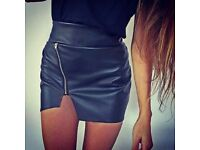Black Faux Leather Asymmetric Skirt