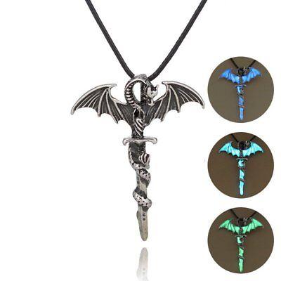 Glow In The Dark Cross (Vintage Glow In The Dark Leather Dragon Cross Pendant Necklace Men Jewelry)