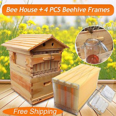 Cedarwood Beekeeping Super Brood Box 4 Pcs Beehive Auto Hive Honey Frames