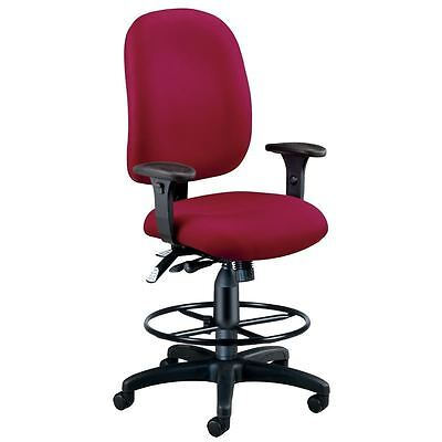 Ergonomic Burgundy Executive Fabric Drafting Office Chair
