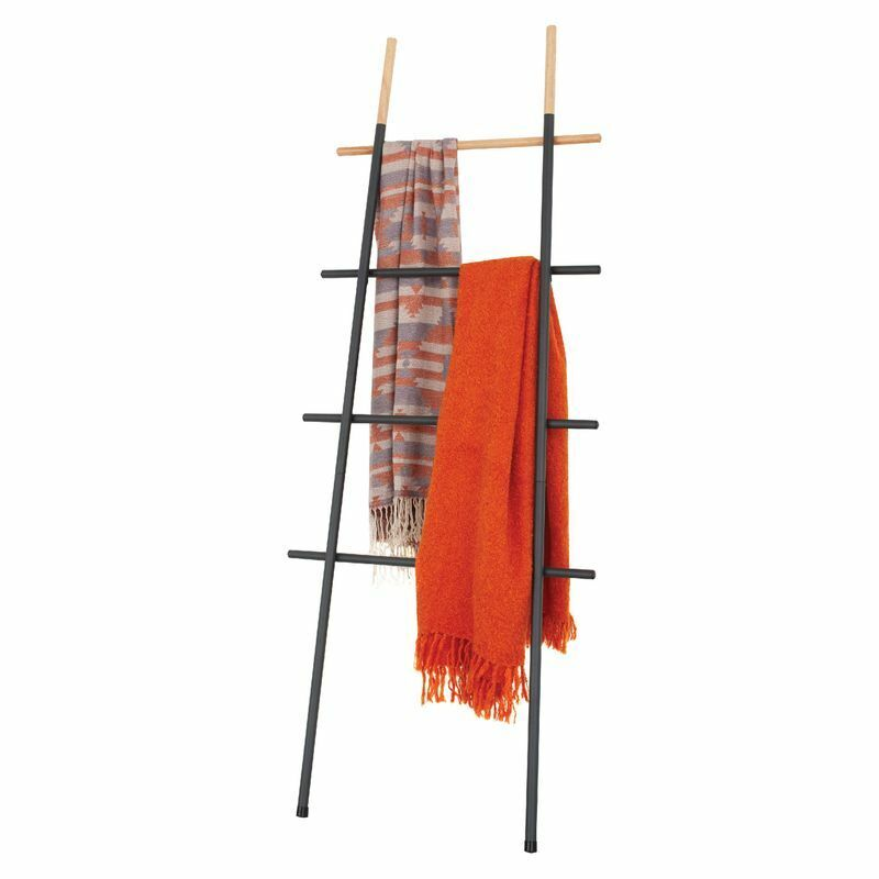 Decorative Blanket Towel Ladder Rack For Living Room Bedroom Bathroom Black