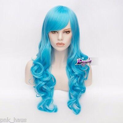 70cm Cosplay Perücke Wig Himmelblau Mädchen Halloween Verkleidung Locken Stylish