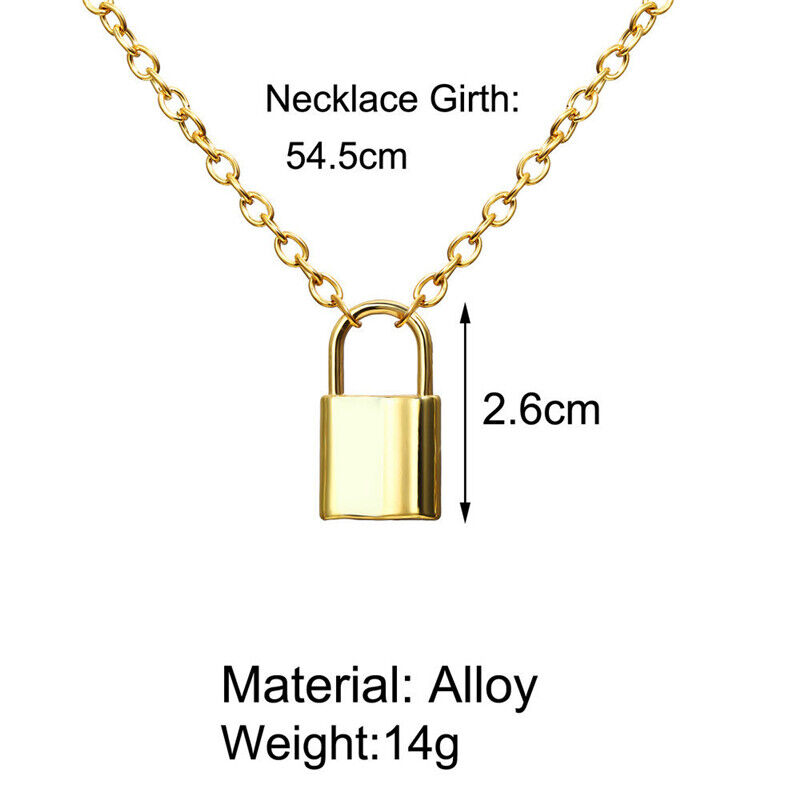 Alloy Lock Pendant Necklace Charms Padlock Long Chain Choker Jewelry Fashion 11
