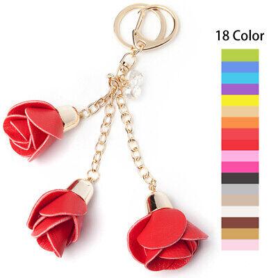 Women Rose Flowers Leather Keyring Pendant Charm Purse HandBag Keychain Key Ring