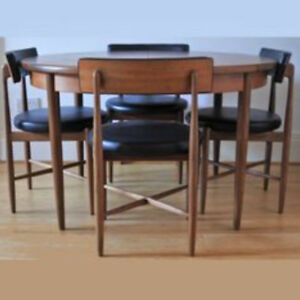 Mid Century Modern Teak Rosewood Extending Dining Table 4 Chairs