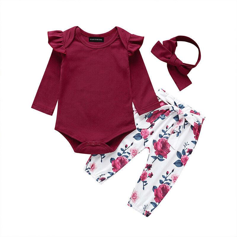 3PCS Newborn Baby Girl Clothes Romper Bodysuit Tops Headband