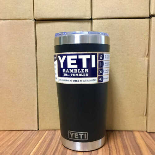 Brand New Rambler YETI 20oz Tumbler Cup With Magnetic Slider Lid Black Color
