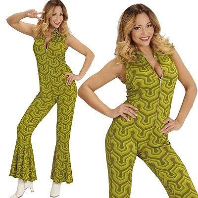70er Disco Girl Overall mit Schlag 38/40 -M- Damen Kostüm Hippie Jumpsuit  #8912 (70er Disco Girl Kostüm)