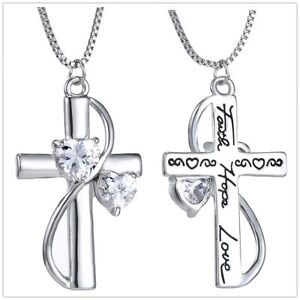 Fashion Crystal Silver Plated Cross