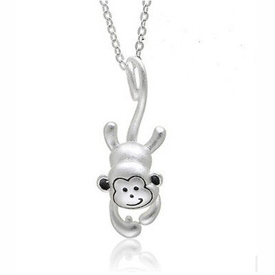 (Unique 925 Sterling Silver 3D Monkey Pendant Chain Necklace Women Jewelry Gift)