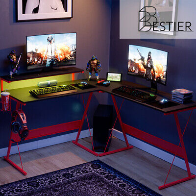 55 L-shaped Computer Gaming Desk Led Pc Corner Table Workstation Home Office