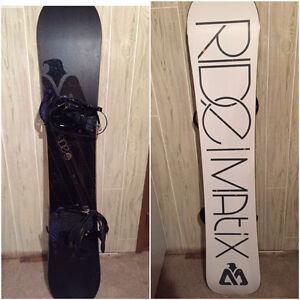 Snowboard, Boots, Bindings, Carry bag